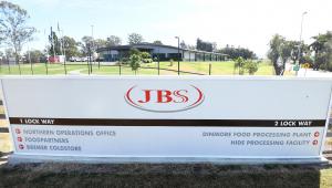 A entrada para a fábrica de carnes Dinmore da JBS Australia, a oeste de Brisbane