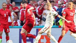 De Bruyne em ação durante Bélgica x Dinamarca pela Eurocopa 2021