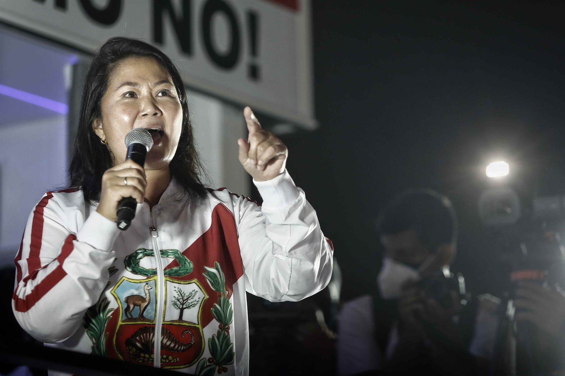 Keiko Fujimori, candidata à presidência do Peru, em manifestação
