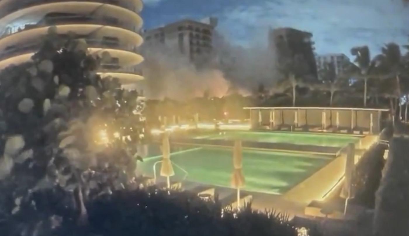 imagem de prédio desabando nos EUA