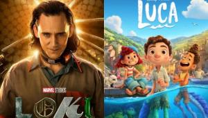 Pôster da série Loki e pôster do filme de animação Luca