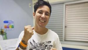 Jhean Marcell no hospital celebrando sua alta