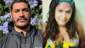 Criolo sério e ao lado sua irmã, Cleane Gomes, segurando flores