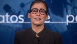 Renata Vascocellos falando emocionada no Jornal Nacional