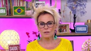 Ana Maria Braga no Mais Você com um penteado de chifre