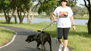 De calça de ginástica até o joelho, camiseta branca, boné e óculos escuros, Dilma Rousseff faz caminhada com Nego, seu cachorro labrador