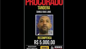 Cartaz de procurado de Danilo Dias Lima, o Tandera