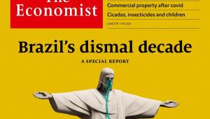 """Capa da revista """"The Economist"""" mostra, em fundo amarelo, o Cristo Redentor respirando por aparelhos e a mensagem """"a década sombria do Brasil"""""""