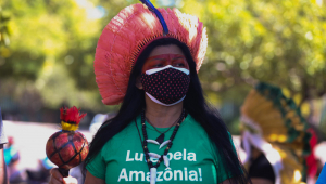 Indígena usa cocar vermelho, camiseta verde e máscara preta durante protesto na Câmara