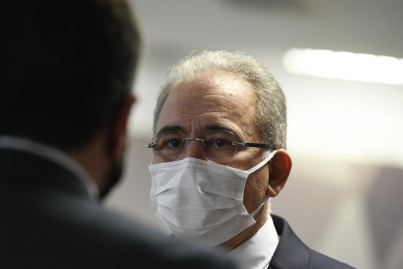 O ministro da Saúde, Marcelo Queiroga, chegando ao Senado Federal para depoimento na CPI da Covid-19