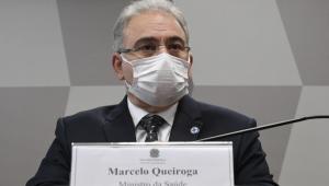 O ministro da Saúde, Marcelo Queiroga, durante pronunciamento na CPI da Covid-19