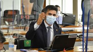 O senador Marcos Rogério, líder do DEM na Casa, durante sessão da CPI da Covid-19