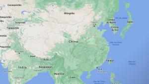 Mapa do mundo com destaque em província na China