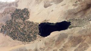 Visão aérea de lago