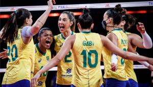 A seleção brasileira feminina de vôlei bateu o Japão e garantiu vaga na final da Liga das Nações