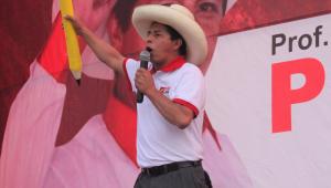 Pedro Castillo, candidato de esquerda à presidência do Peru, durante comício de campanha