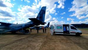 avião de transporte de pacientes com covid-19 no Mato Grosso do Sul