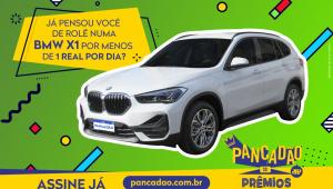 Banner da promoção Pancadão de Prêmios mostra uma BMW X1 e a frase: Já pensou você de rolê numa BMW X1 por menos de um real por dia