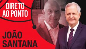 Ex-ministro João Santana e Augusto Nunes em montagem com o letreiro do programa Direto ao Ponto