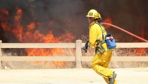 bombeiro lutando contra incendio florestal