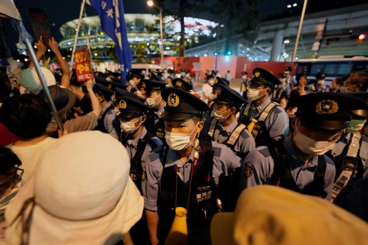 Um homem foi preso durante a manifestação contra a Olimpíada de Tóquio