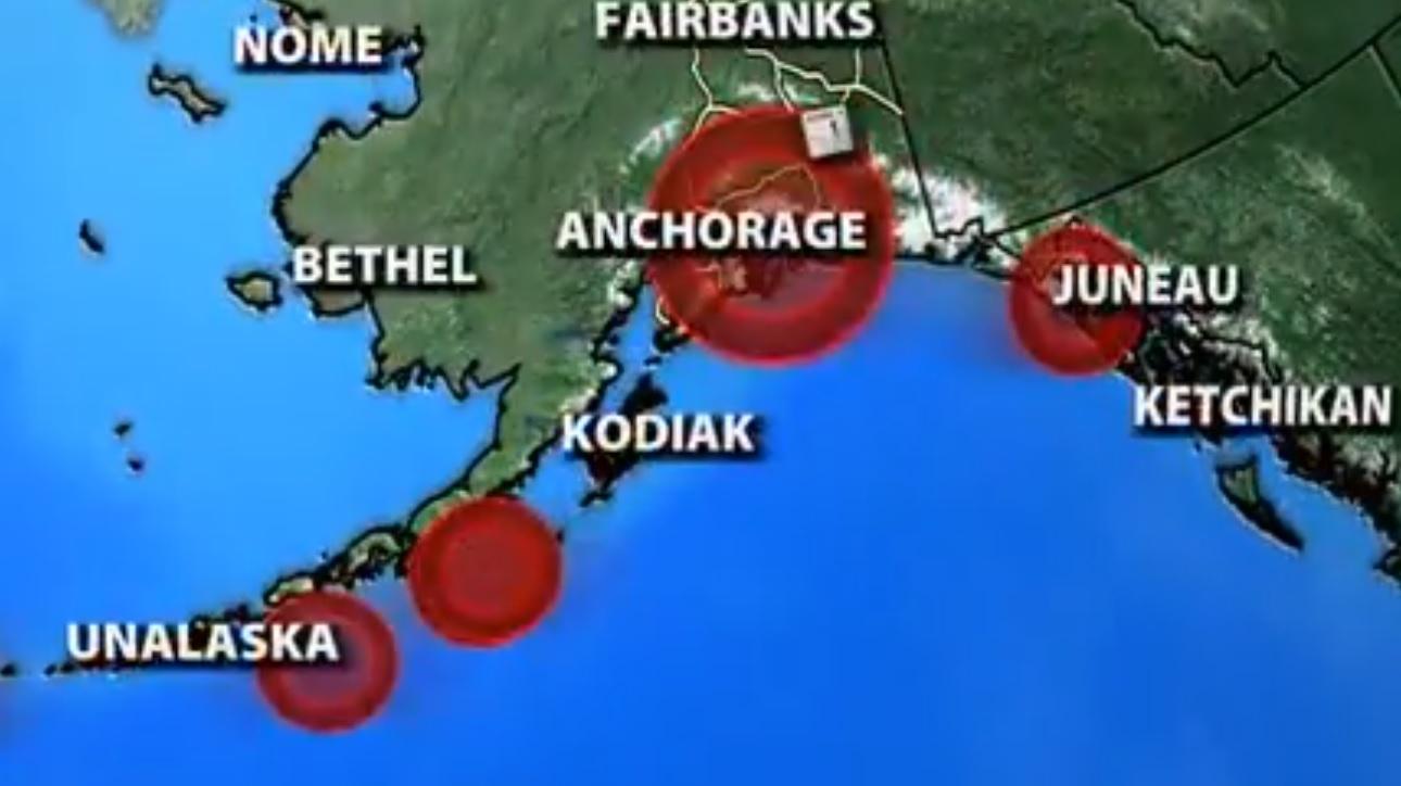 mapa do alasca com pontos de terremoto marcados em vermelho