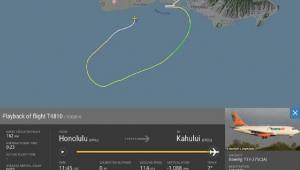 Imagem de satélite mostra curso de avião em Honolulu