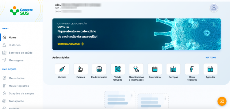 ConnectSUS Application Home Page