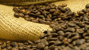 Grãos de café em cima de um saco bege