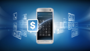 Imagem mostra um celular com um fundo azul e diversos ícones relacionados a investimentos