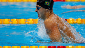 Vinicius Lanza durante a classificatória dos 200 m medley