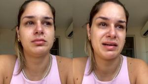Pamella Holanda chorando em vídeo