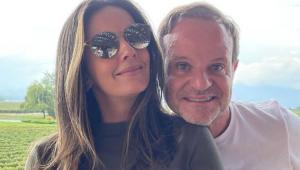 Rubens Barrichello abraçado com Paloma Tocci