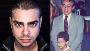 Cícero Chaves em uma foto recente e ao lado uma foto da infância com Chico Anysio