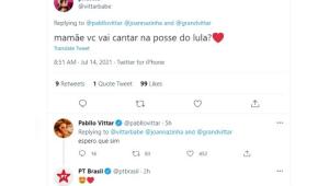 Print do tweet da Pabllo Vittar dizendo que quer cantar na posse de Lula