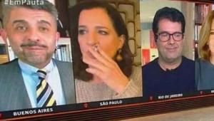 Mônica Waldvogel fumando ao vivo na GloboNews
