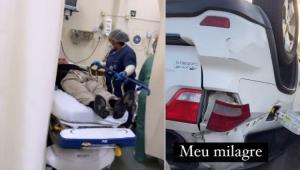 Cantor Giovani em uma maca de hospital e ao lado o carro capotado