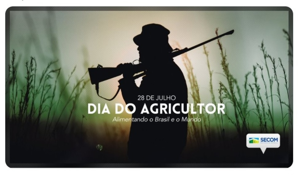 Imagem usada pela comunicação do governo mostra silhueta de homem com chapéu, carregando uma espingarda nos ombros, com a inscrição Dia do Agricultor Sobreposta
