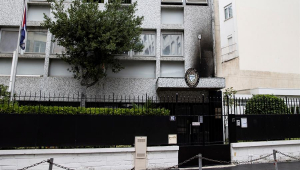 fachada de embaixada de cuba incendiada