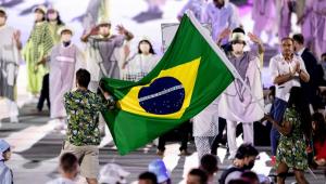 Delegação brasileira na cerimônia de abertura nos Jogos Olímpicos de Tóquio