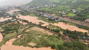 imagem aérea de local inundado