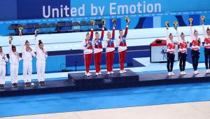 A Rússia venceu na ginástica feminina por equipes