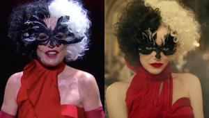 Ana Maira Braga vestida da personagem Cruella. Ao Lado, Emma Stone com o mesmo figurino