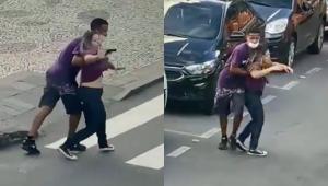 Assaltante armado fazendo uma mulher de refém em Angra dos Reis