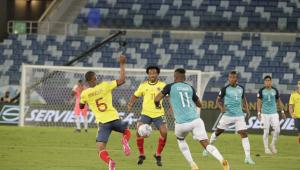 Lance durante partida entre Colômbia e Equador, válido pela Copa América, realizado na cidade de Cuiabá, MT