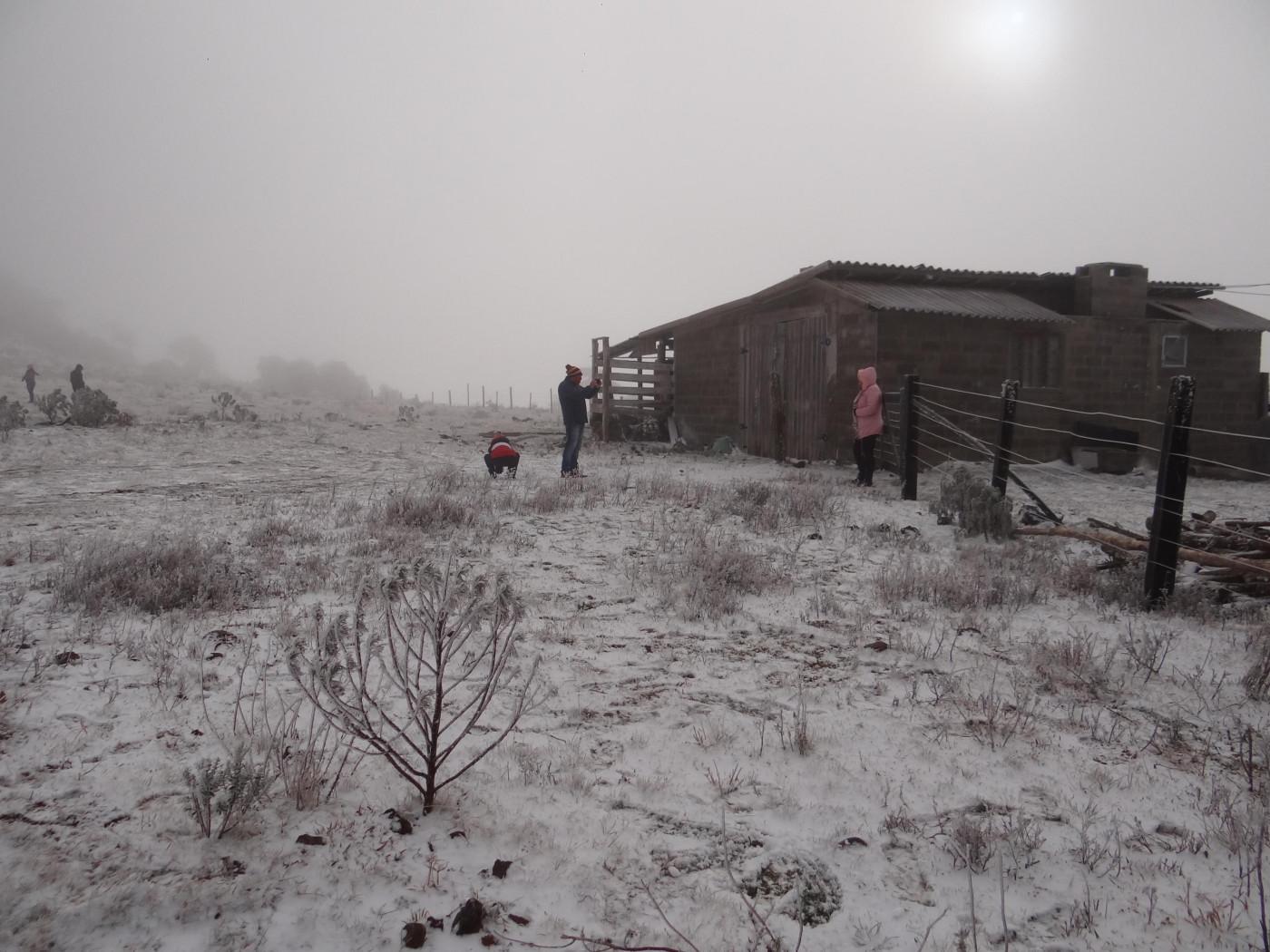 A cidade de Urupema (SC) registrou queda de neve nesta quarta-feira