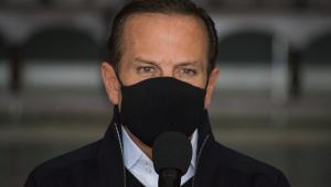 O governador João Doria em coletiva de imprensa