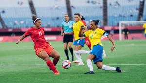 Marta durante partida entre Brasil e Canadá pelas quartas de final das Olimpíadas de Tóquio