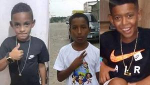 montagem com foto dos três meninos desaparecidos