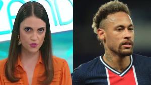 Montagem mulher e homem, Chris Flores, apresentadora, e Neymar, jogador. Ela tem cabelos lisos castanhos e usa camisa laranja e ele está com um uniforme e correndo em uma partida